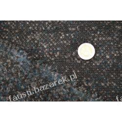 Wełna płaszczowa czarna melanż