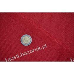 Wełna płaszczowa czerwona widoczny splot