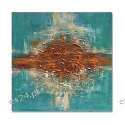 Abstrakcja, turkus i wenge, nowoczesny obraz ręcznie malowany