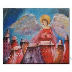 Anioł stróż, obraz ręcznie malowany, obraz dla dziecka chrzest