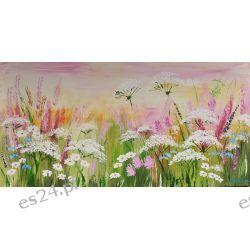 Pastelowa łąka, obraz ręcznie malowany