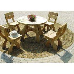 Komplet mebli masywnych stół okrągły...