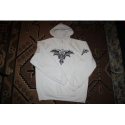 Biała bluza z kapturem z ciekawym wzorem XXL TANIO