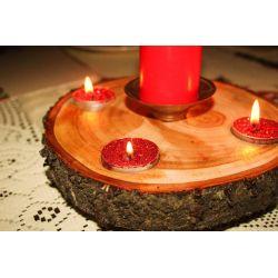 Świecznik drewniany ręcznie robiony na nóżkach