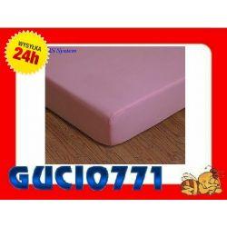 JERSEY Prześcieradło z gumką 60x120 - Różowe