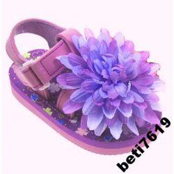 UK KULTOWE SANDAŁKI kwiatek 3D FLUO r 22 wk 14,5cm