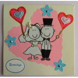 Oryginalna kartka na ślub, ręcznie robiona