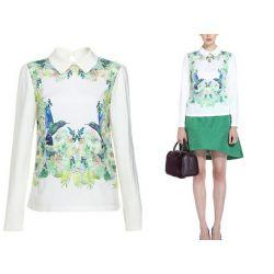 598-M Trendy KOSZULA Kwiaty Bluzka Koszule M 38