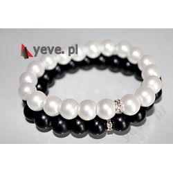 Yeve_pl Bransoletka perła biała czarna 2 szt10 mm