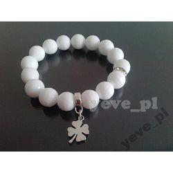 Yeve_pl Bransoletka Agat Biały fasetowany 12 mm