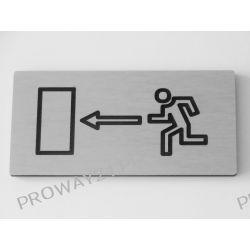 Tabliczki informacyjne na drzwi - Srebro Drapane - Dibond - 12x6cm - WYJŚCIE EWAKUACYJNE