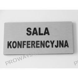 Tabliczki informacyjne na drzwi - Srebro Drapane - Dibond - 14x7cm - SALA KONFERENCYJNA