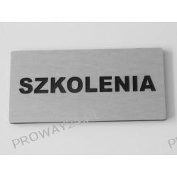 Tabliczki informacyjne na drzwi - Srebro Drapane - Dibond - 14x7cm - SZKOLENIA