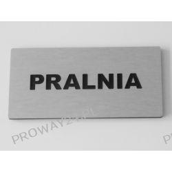 Tabliczki informacyjne na drzwi - Srebro Drapane - Dibond - 14x7cm - PRALNIA