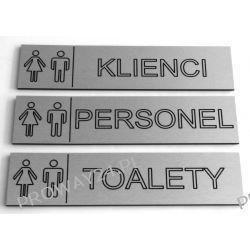 Tabliczki informacyjne na drzwi - Srebro Drapane - Dibond - 6x24cm - WC TOALETY