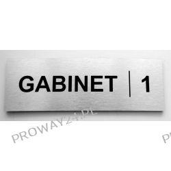 Tabliczki informacyjne na drzwi - Srebro Drapane - Dibond - 8x24cm - GABINET
