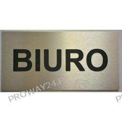 Tabliczki informacyjne na drzwi - Srebro Drapane - Dibond - 30x15 - BIURO