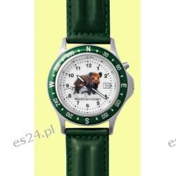 Zegarek z motywem dzika, pasek skórzany