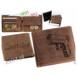 Skórzany portfel pionowy z motywem Glock Zegary