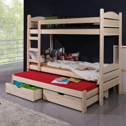 ŁÓŻKO 3 OSOBOWE+materace 200x90 cm+szuflady Pokój dziecięcy