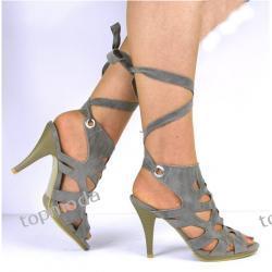 PLECIONE na łydce sandały obcas 10cm (D728)