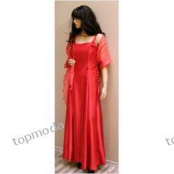 Suknia balowa czerwona sznurowana z boku - 40 (L)