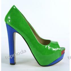 SEXI LOOK Platformy GWIAZD szeroki obcas 14cm Green (D1148)