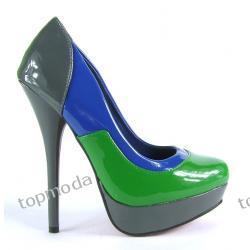 SEXI LOOK Platformy GWIAZD obcas 13cm  szaro/zielono/niebieski (D1144)