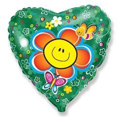 Balon foliowy 18 HRT Uśmiechnięty kwiatek, 1szt.
