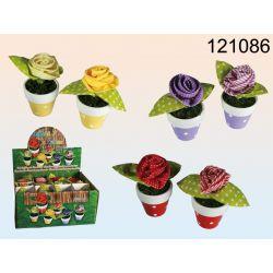 Kwiatek materiałowy w doniczce