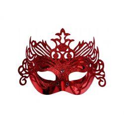 """Maska Party z ornamentem, czerwony, 1szt."""""""