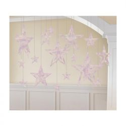 Dekoracje wiszące Gwiazdy 3D, opalizujące, 1op.