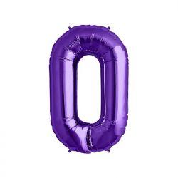 "Balon foliowy 34"" Cyfra 0, fioletowy, 1szt."