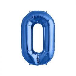 """Balon foliowy 34"""" Cyfra 0, niebieski, 1szt"""