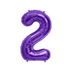 "Balon foliowy 34"" Cyfra 2, fioletowy, 1szt."