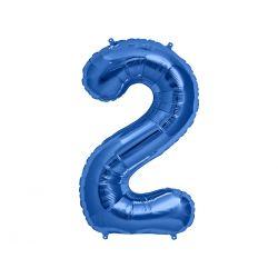 """Balon foliowy 34"""" Cyfra 2, niebieski, 1szt."""
