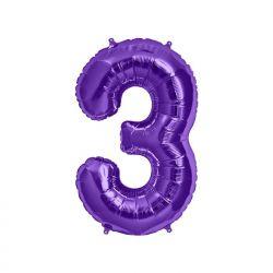 "Balon foliowy 34"" Cyfra 3, fioletowy, 1szt."
