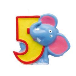 Świeczka urodzinowa Safari, numer 5, 1szt.