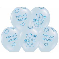 Balony 14 Miś - mam już..., P. Sky Blue, 50szt.