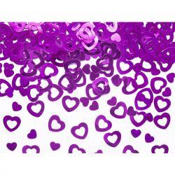 Konfetti metalizowane Serca, różowy, 15g, 1op.