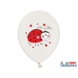 Balony 30cm, Biedronki, Pastel Pure White, 50szt.