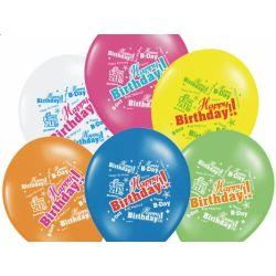 Balony 14 Happy Birthday, Pastel Mix, 50szt.