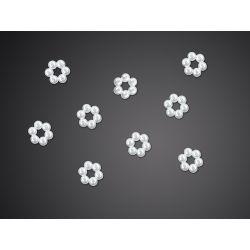 Aplikacja akrylowa Kwiatek, perłowy, 9mm, 1op.