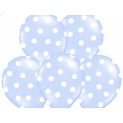 """Balony 14"""" Kropki, Pastel Sky Blue, 6szt."""