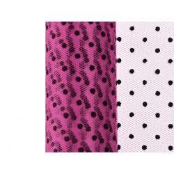 Tiul w kropki, różowy, 0,15 x 9m, 1szt.