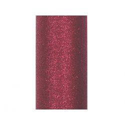 Tiul glittery, bordo, 0,15 x 9m, 1szt.