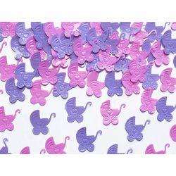 Konfetti Wózki, różowy i fiolet, 15g URODZINY
