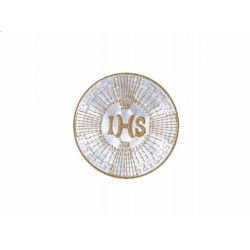 Emblemat IHS, biały i złoty KOMUNIA
