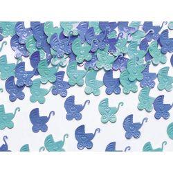 Konfetti Wózki, niebieski i błękit, 15g URODZINY