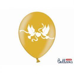 Balony 30cm, Gołąbki, Metallic Gold, 50szt.